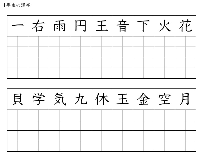 This is a picture of Challenger Printable Kanji Practice Sheets